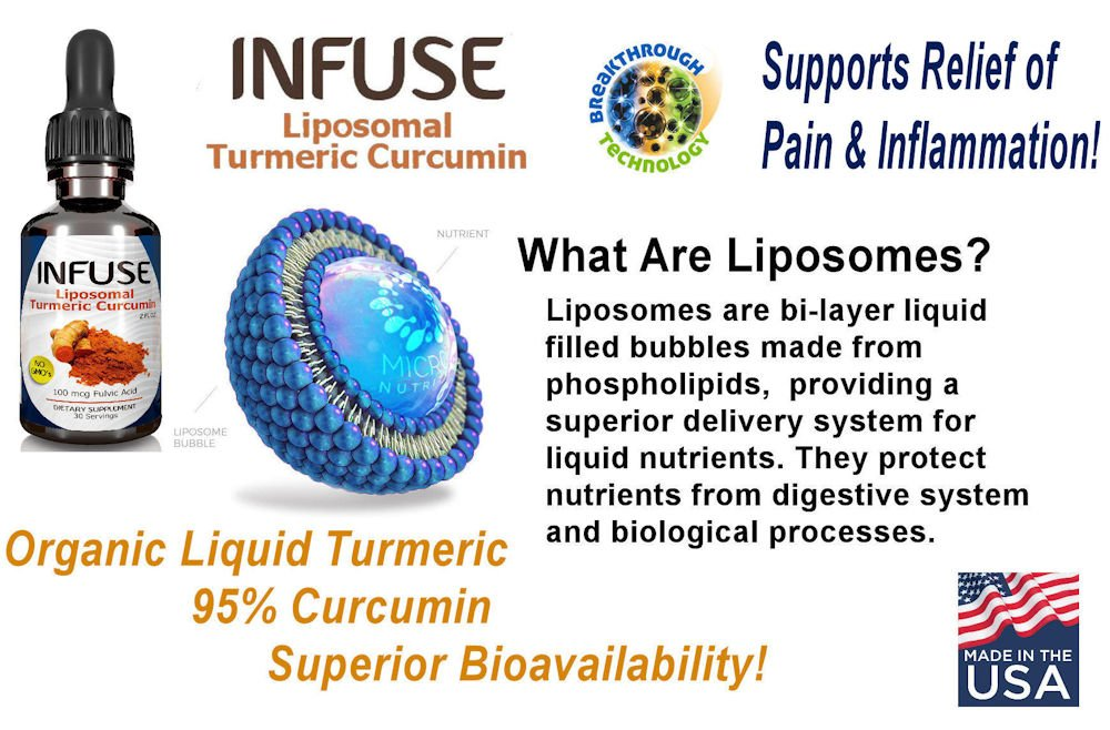 Infuse Liposomal Liquid Turmeric Curcumin Liquid 2 Bottle Pack Superior Absorption, 95 Curcumin, High Potency Organic Joint Pain Inflammation Relief, with Fulvic Acid MFD USA Ships Free