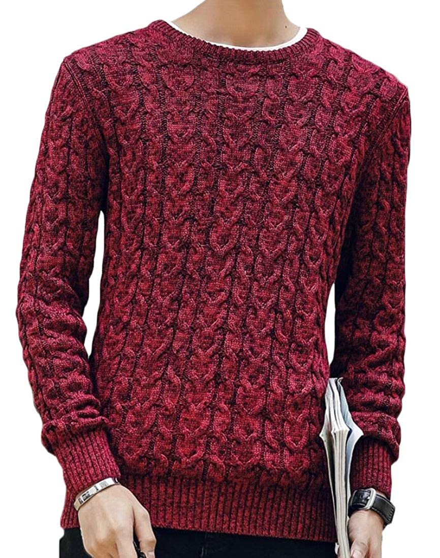 GenericMen Slim Fit Cable Knit Long Sleeve Pullover Sweater