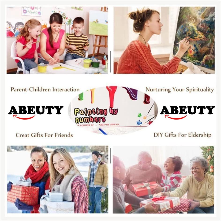 Antiquity Girl Peony Red 16x20 inches Number Painting Anti Stress Toys ABEUTY DIY Paint by Numbers for Adults Beginner No Frame