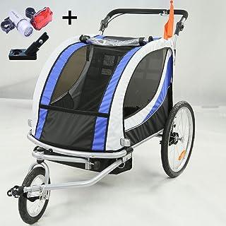 Style home® 2 in 1 Fahrradanhänger Kinderanhänger 360° drehbar Vorrad Kinderwagen für 1-2 Kinder Jogger Buggy Radanhänger Transportanhänger mit Kupplung und Beleuchtung 3 Farbauswahl (JG01-BW-002-01)