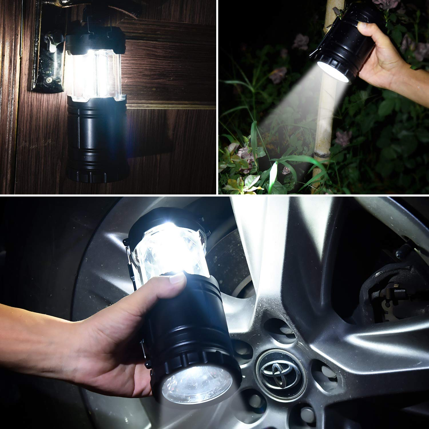 Ultra Bright 2-In-1 350 Lumen LED Camping Lantern 2 Pack, Bottom Torch - Portable Handheld Flashlights with 6 AA Batteries for Emergencies,Camping Gear,Hiking, Power Outages, Night Walk, Night Fishing