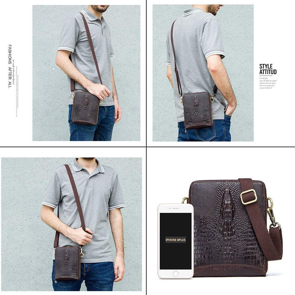 ZHHID Leather Crossbody Bags for Men Small Messenger Bag for Men Leather Brown Shoulder Bag Laptop Briefcases Business Bookbag Travel Bag with Adjustable Strap