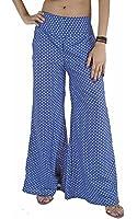Women New Printed Harem Pants Gypsy Crepe Elastic Polka Dot Elastic Boho Blue