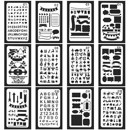 Vancool 24 piezas Bullet Journal Stencil Set plantilla de dibujo planificador plástico para diario / cuaderno / diario / libro de recuerdos, 4 x 7 ...