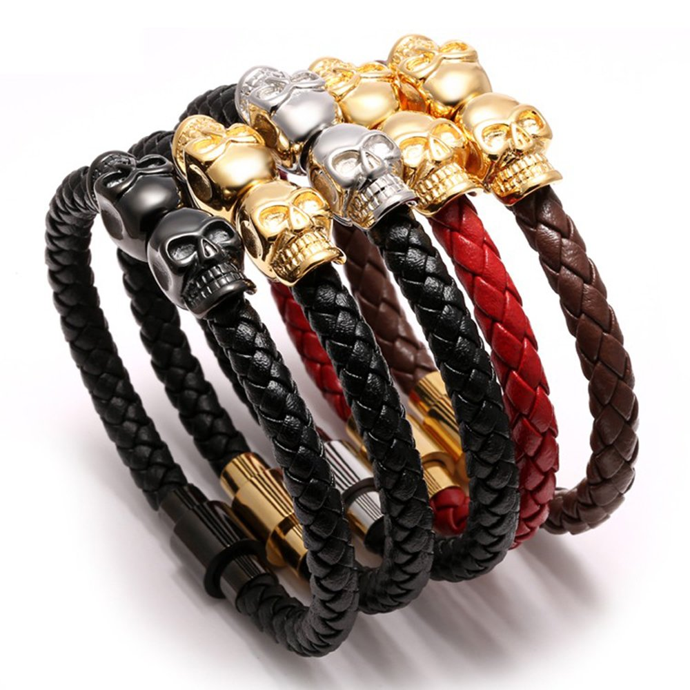 Meangel Braided Leather Bracelet for Men Stainless Steel Twin Skull Bangle Magnetic-Clasp 8.2 Inch by Meangel (Image #4)