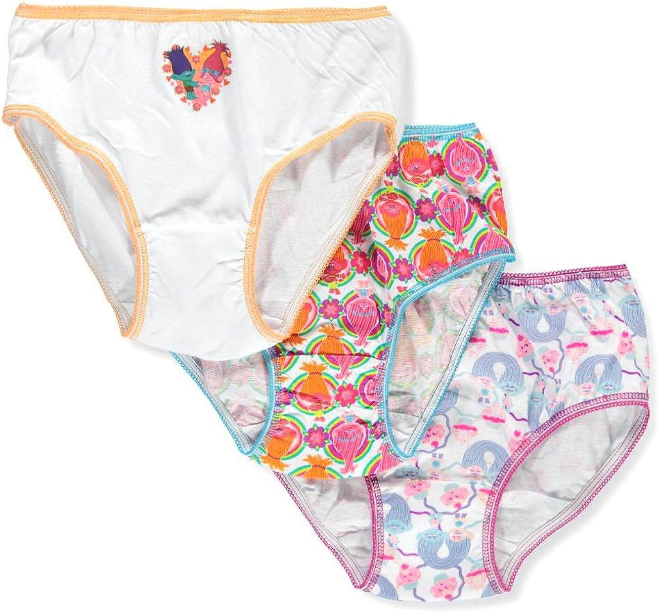 Dreamworks Trolls 3-Pack Girl Panties Underwear Poppy Branch Guy Diamond Satin /& Chenille
