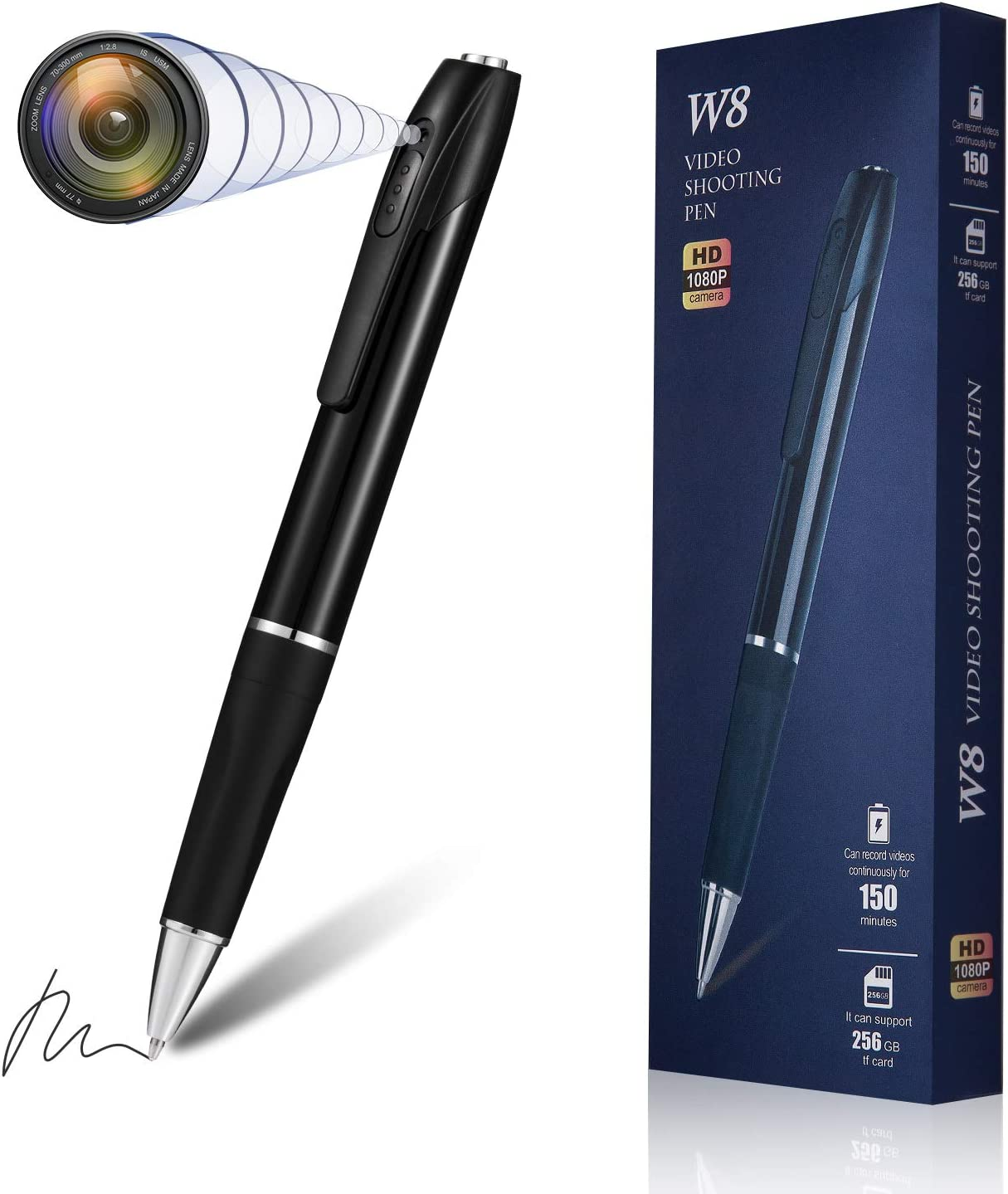 Hidden Spy Camera Pen Nanny Camera Pen HD 1080P Video Recorder, Spy Kit Body Camera Portable Pocket Mini Camera 150 Minutes Battery Life with 32GB SD Card for Business Conference and Security