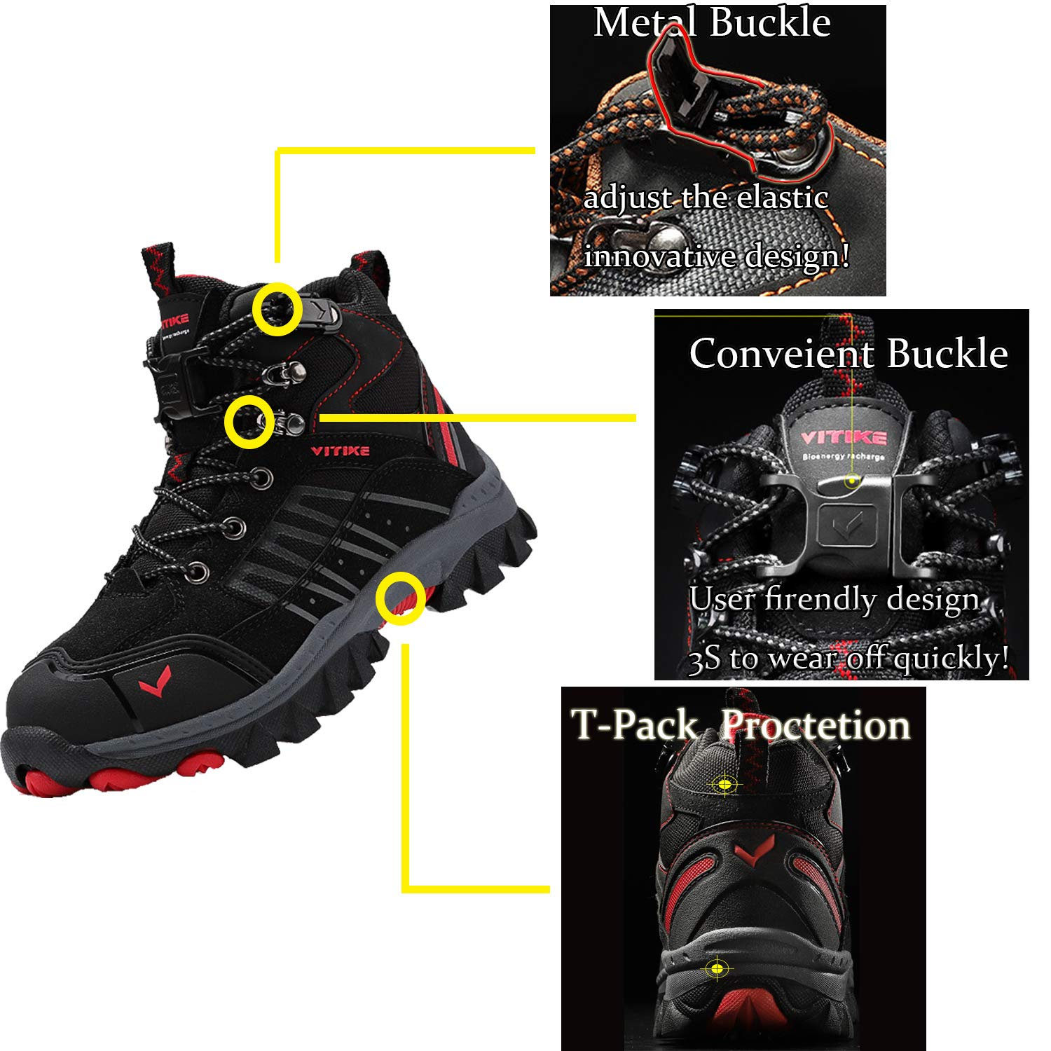 Elaphurus Kids Mid Hiking Boots Winter Snow Boots Outdoor Backpacking Shoes Warm Shoes Little Kid//Big Kid