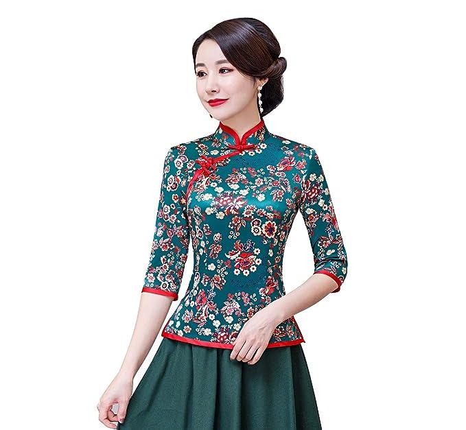 b630fd79915 Shanghai Story Cheongsam Shirt 3 4 Sleeve Chinese Top Faux Silk Blouse 2XL  Green