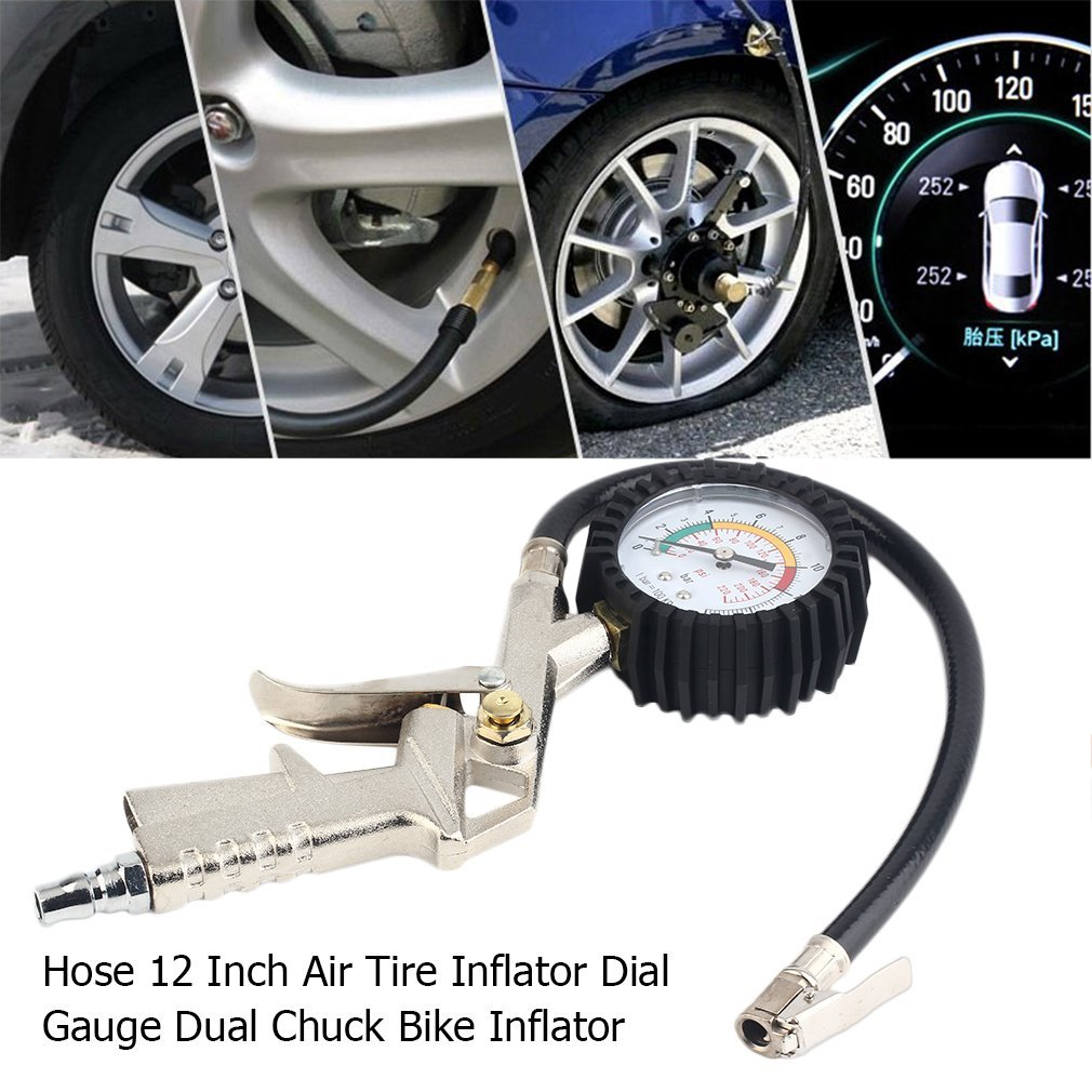 Qulable Practical Air Tire Inflator With Dial Gauge Vehicles Cars Bicycle Compressor