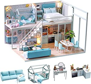TuKIIE DIY Miniature Dollhouse Furniture Kit, 1:24 Scale Mini Wooden Doll House Accessories Plus Dust Proof & Music Movement for Kids Teens Adults(Poetic Life)