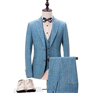 Maxudrs 2018 Light Blue Linen Wedding Suits For Men Suits Casual