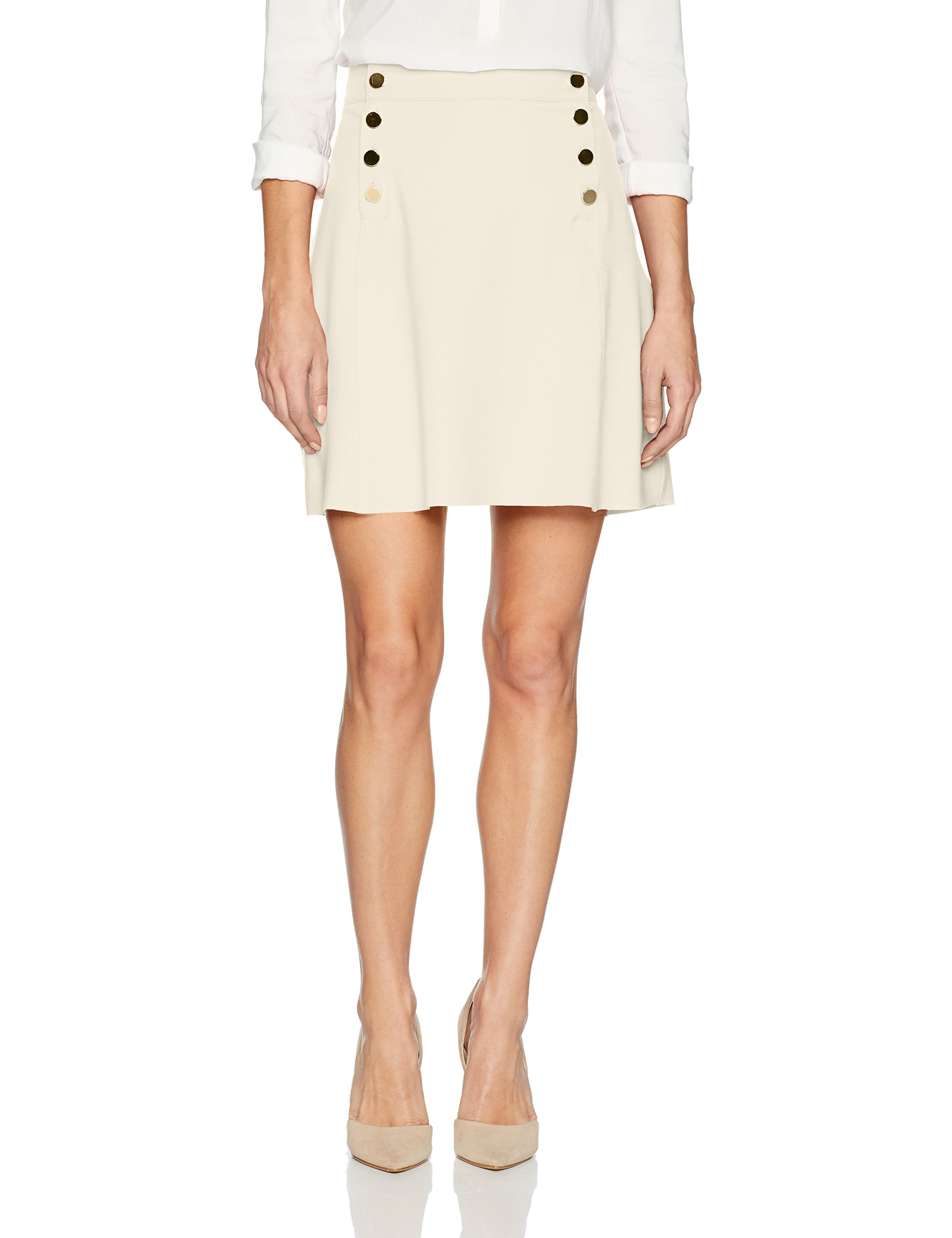 Three Dots Women's Ponte a-Line Loose Short Skirt, Off White, Xtra Small