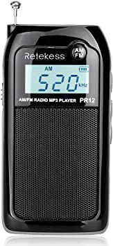 Retekess PR12 Am FM Radio de Bolsillo Sintonización Digital Mini Transistor Portátil DSP Reproductor MP3 Soporte para Tarjeta SD con Batería Recargable (Negro)