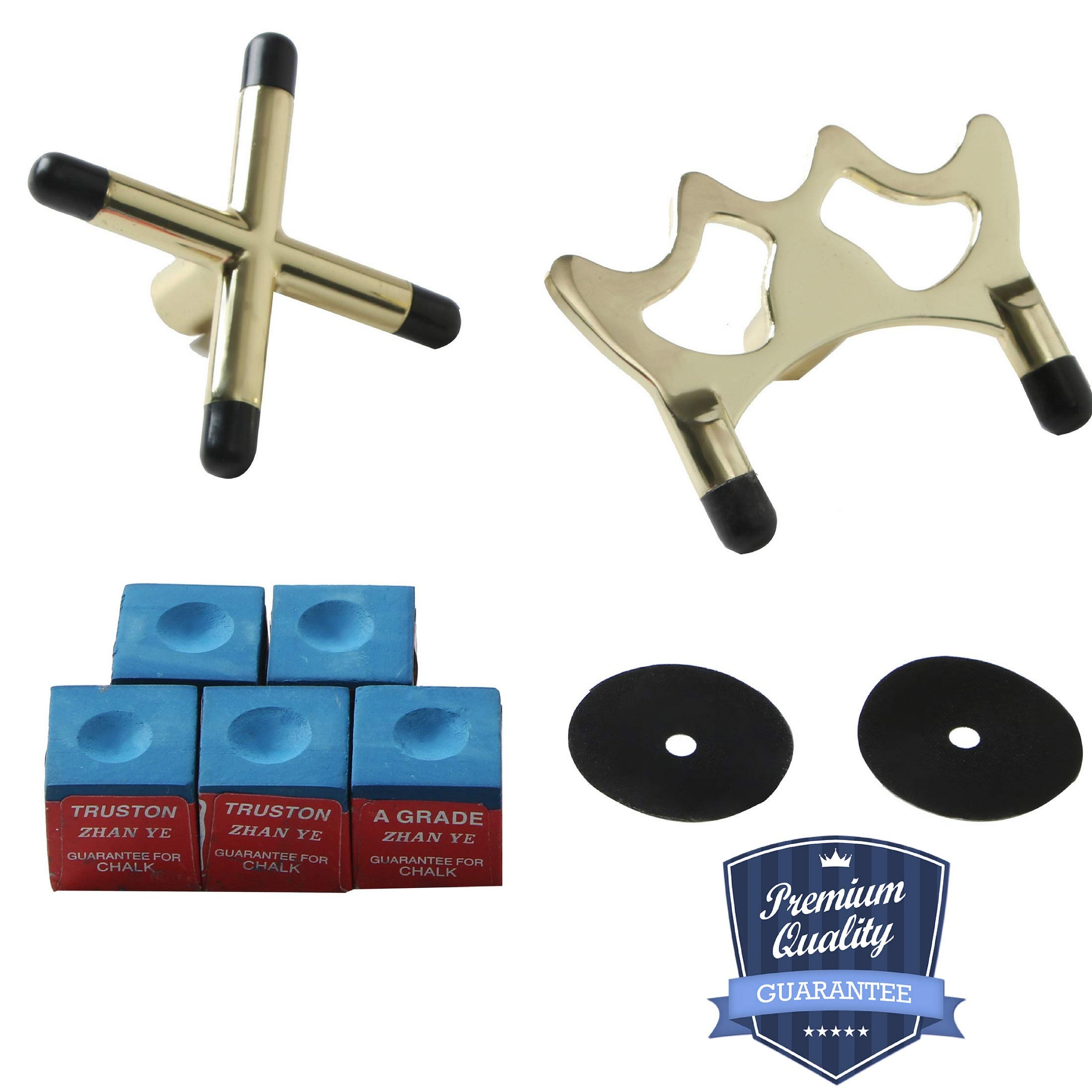 BETTERLINE Billiard Cue Bridge Spider Head and Cue Cross X Rest, 5 Cue Chalk Cubes and 2 Table Spots - Pool Table Game Accessories for Cue Sticks
