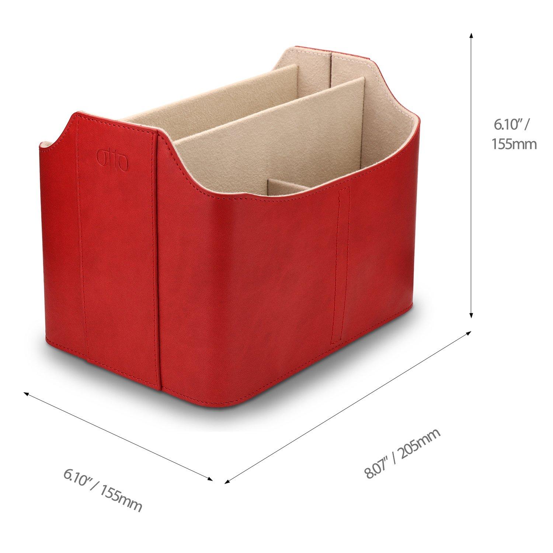 Organizador y Estuche para mandos a Distancia con Espacio para Tableta de Cuero Rojo Otto