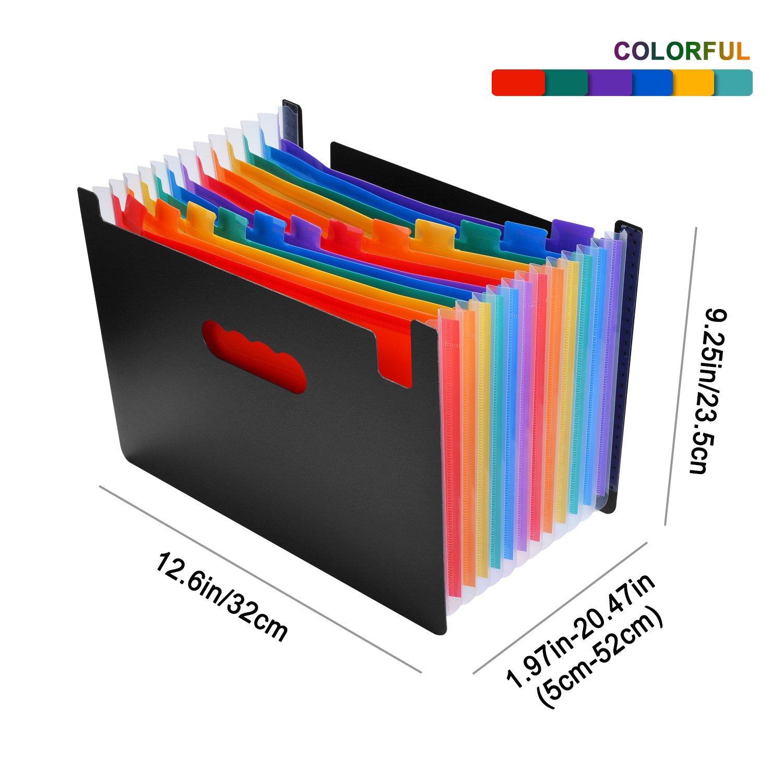 Archivero Expandible de 12 Compartimientos, Organizador de Documentos AGPtek A4 de Gran Capacidad con Base Expandible y Etiquetas de Colores, ...