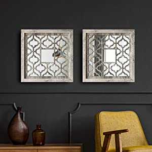 qmdecor MDF Wood Material Rustic Distressed White Framed Decorative Mirror 12x12 inches Square Wall-Mounted Mirrors Set of 2 Pieces
