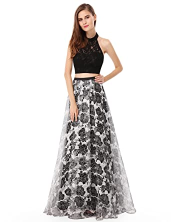 Amazon.com: Ever Pretty Womens Halter Top Two Piece Long Floral ...