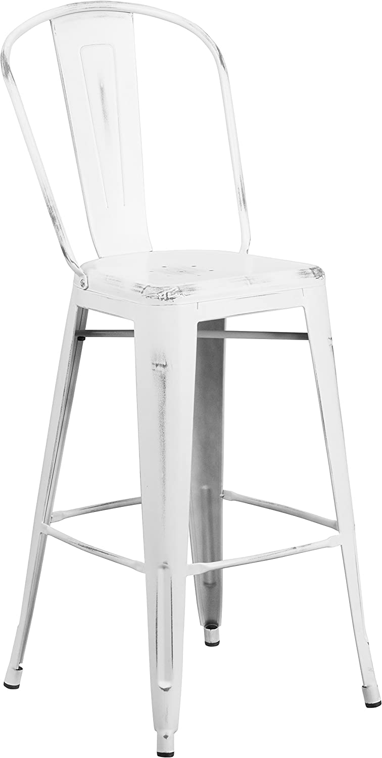 "Flash Furniture Commercial Grade 30"" High Distressed White Metal Indoor-Outdoor Barstool with Back"