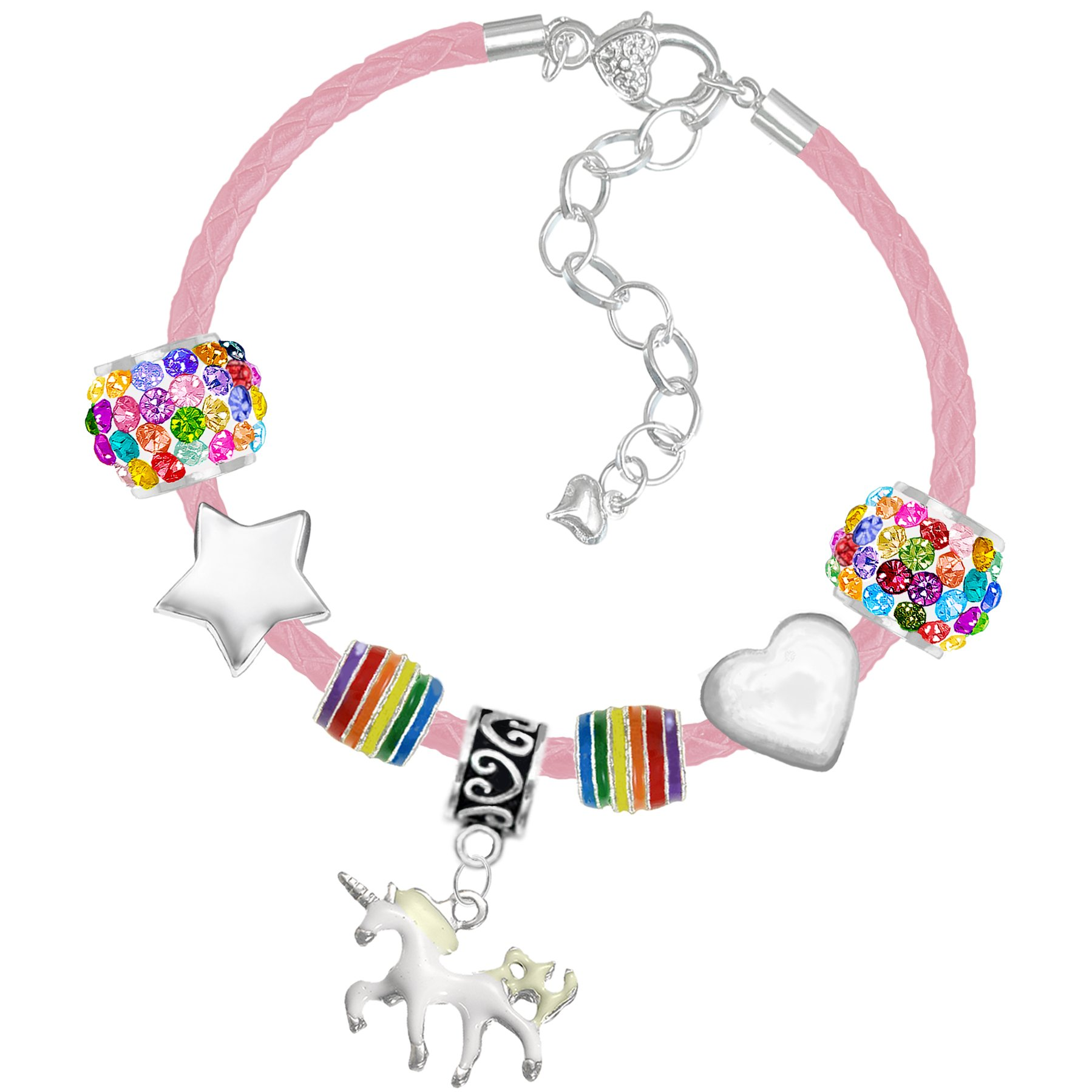 Girls Magical Unicorn Sparkly Charm Bracelet Set with Greeting Card and Gift Box Girls Jewelry (1 a Rainbow Colours Pink Leather)