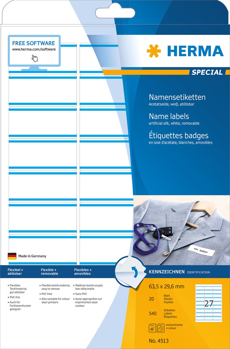 HERMA 4511/Etichette Rimovibili 63,5/X 29,6/mm, Tessile, etichetta, badge Nominativi, stampabile 540/pezzi su 20/fogli DIN A4 bianco