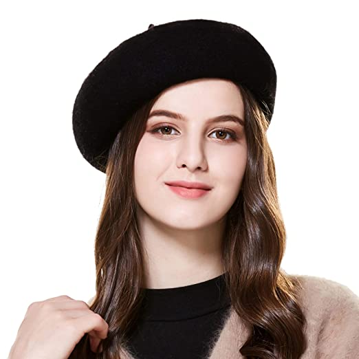 Winter Hats Wool French Berets for Women Ladies Black 1134ce5685b