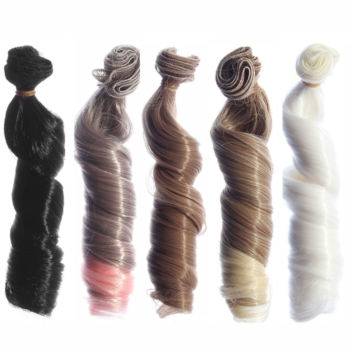 5pcs/lot,15x100cm Curly Heat Resistant Doll Hair Wefts for DIY Doll Wigs Different Colors for Choice (023-5pcs-01)
