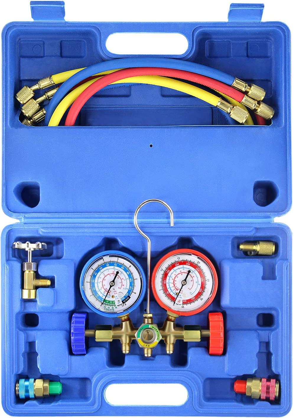 AURELIO TECH MGS-0005-WZ 3 Way A/C Diagnostic Manifold Gauge Set, Fits R134A R12 R22 and R502 Refrigerants, with 5FT Hose, Acme Tank Adapters, Couplers and Can Tap