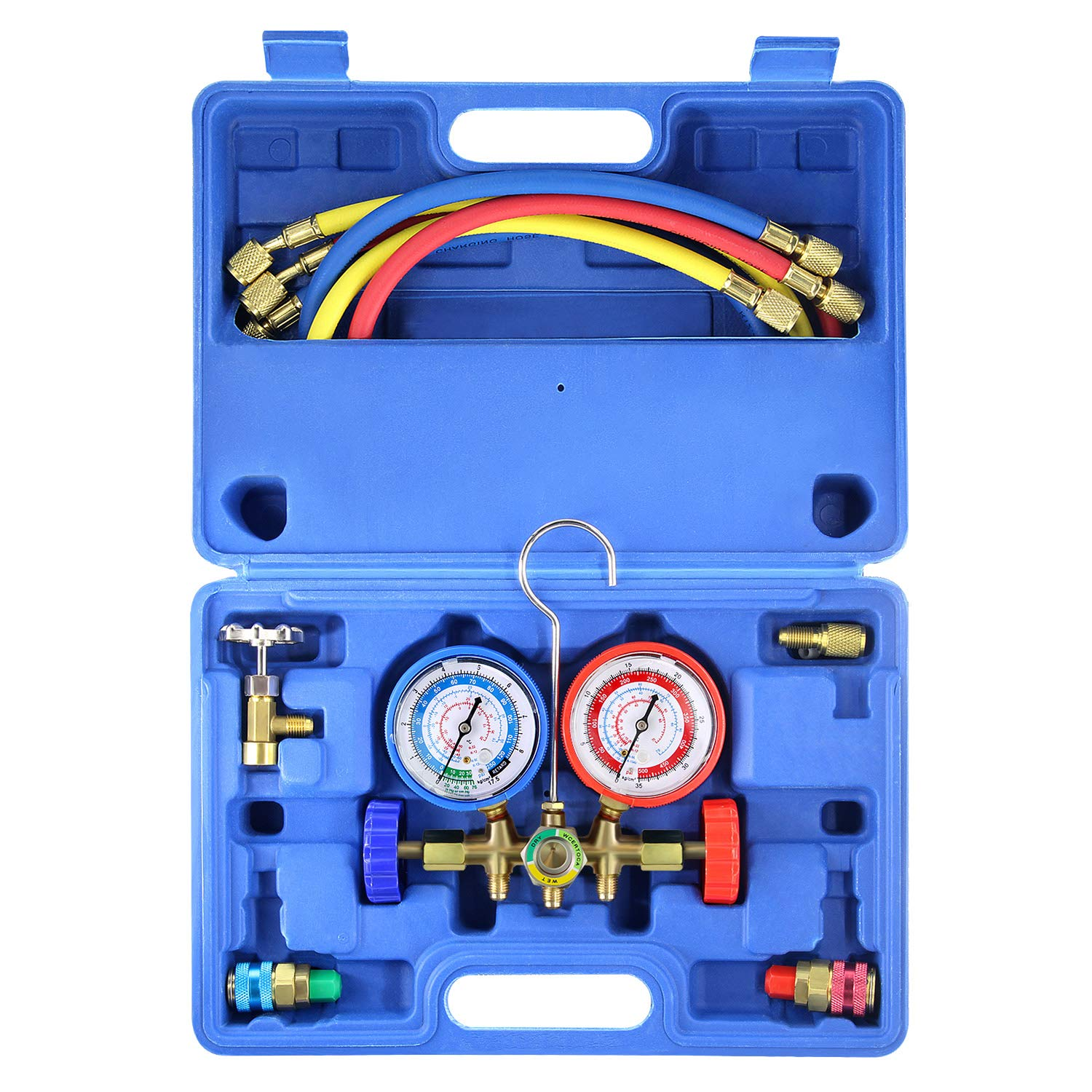 AURELIO TECH MGS-0005-WZ 3 Way A/C Diagnostic Manifold Gauge Set, Fits R134A R12 R22 and R502 Refrigerants, with 5FT Hose, Acme Tank Adapters, Couplers and Can Tap by AURELIO TECH
