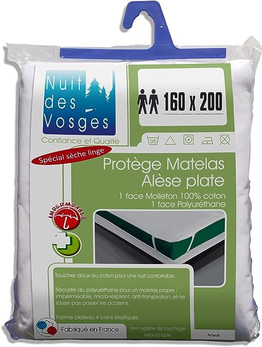 Nuit des Vosges 2072631 Arnaud Al/èse Plate Imperm/éable Coton Blanc 160 x 200 cm
