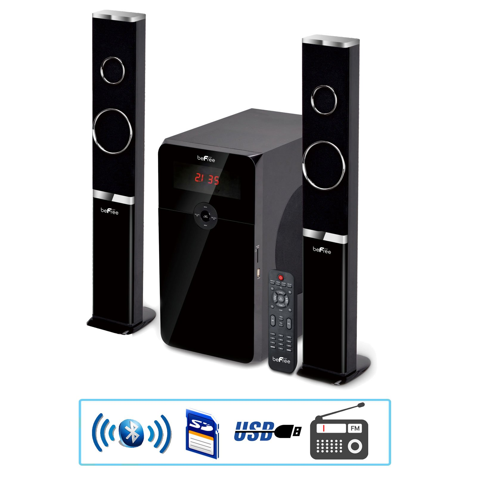 BEFREE SOUND B0165beFree Sound 2.1 Channel Multimedia Wired Speaker Shelf System with SD and USB Input