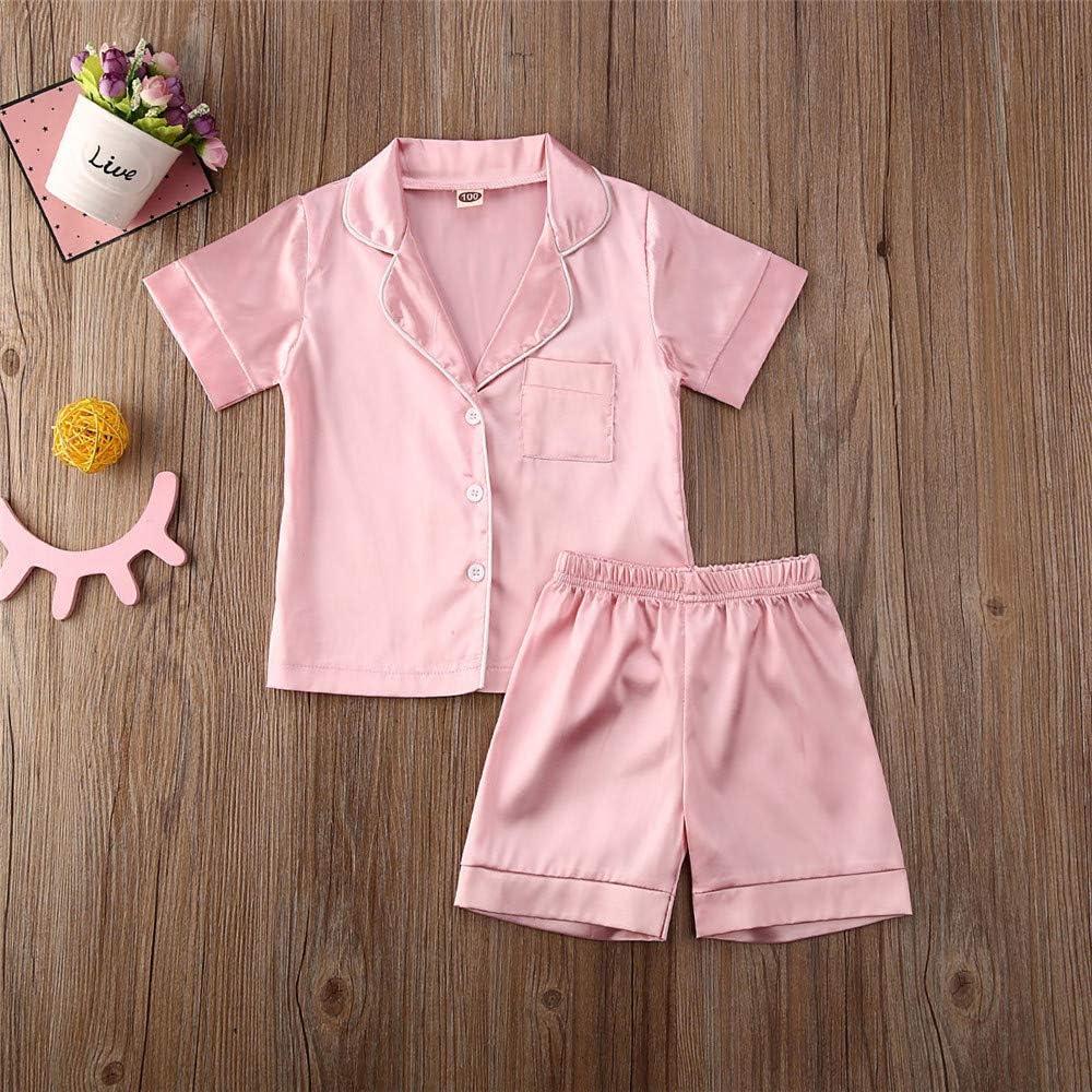 Toddler Baby Girls Boys Two Piece Pajamas Satin Silk Pjs Sleepwear Loungewear Summer Outfits Clothes Set
