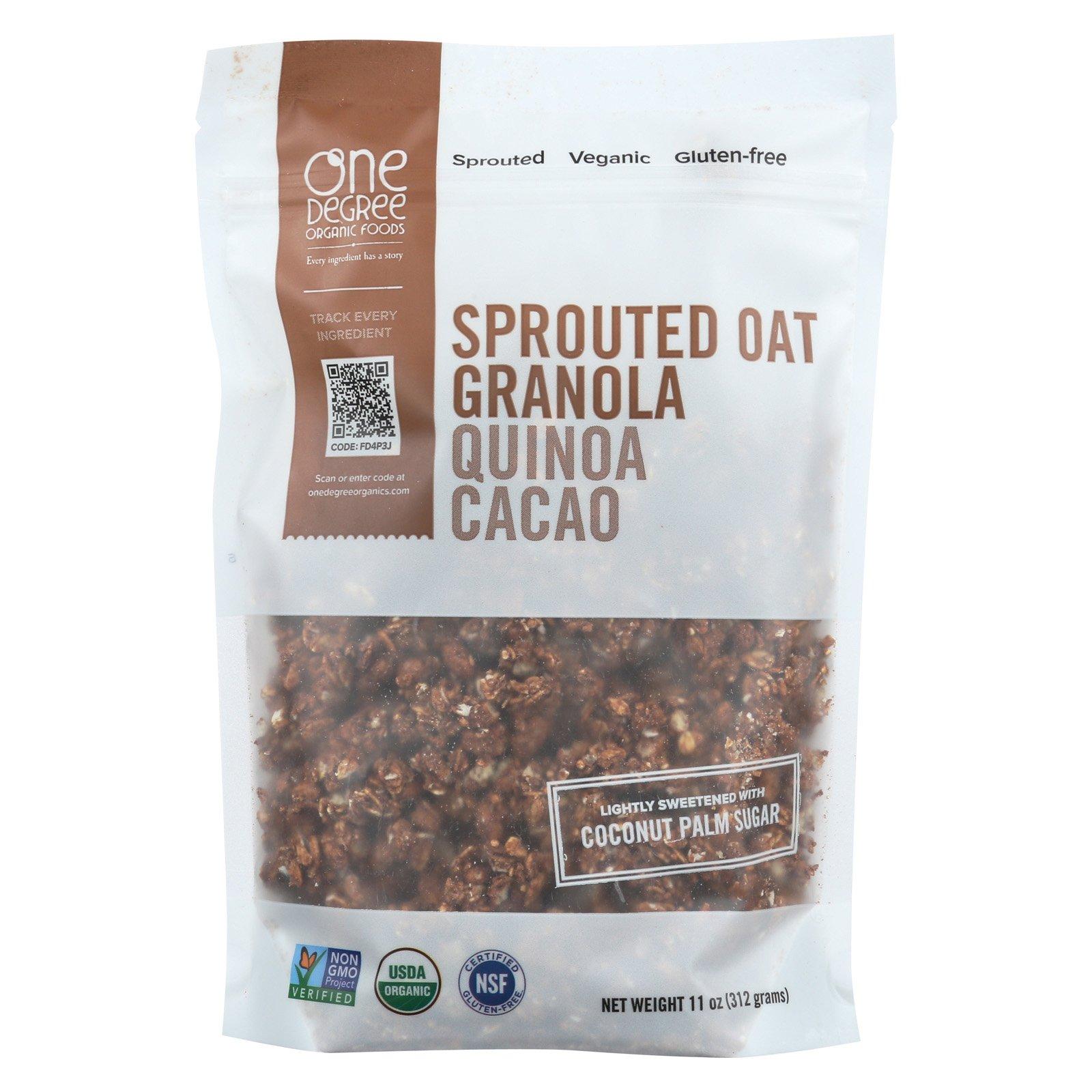 One Degree Organic Cacao Oat Quinoa Granola, 11 Ounce - 6 per case.