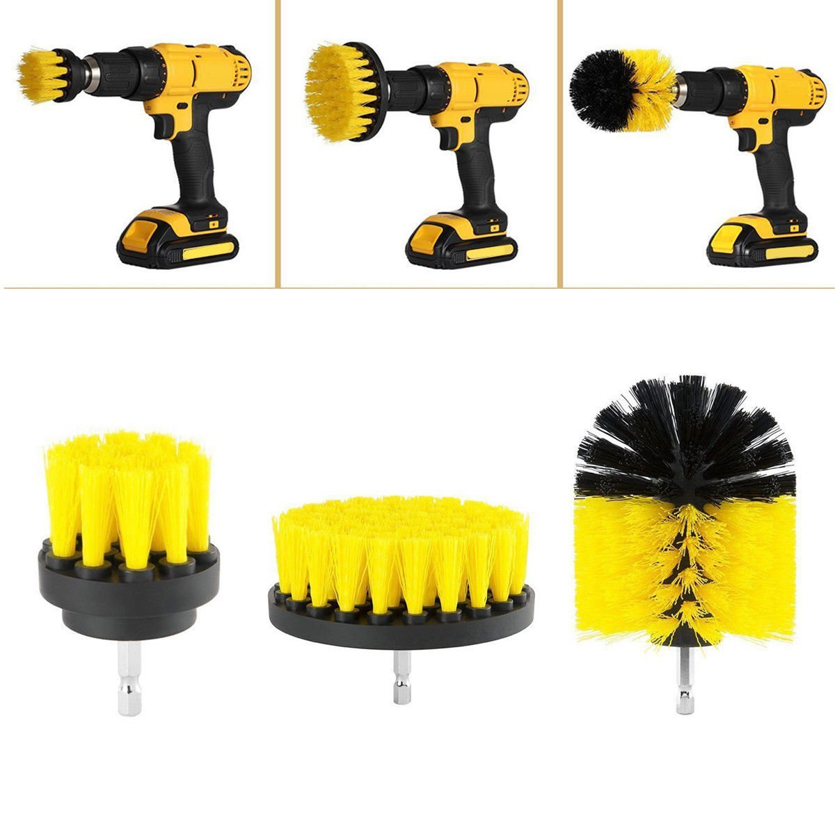 Delaman Drill Brush Brush Attachment Drill Rotary Electronic Cleaning Brush for Bathroom, Car, Floor, Kitchen, 3 Pieces, Yellow