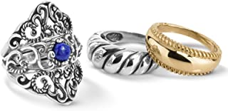 product image for Carolyn Pollack Sterling Silver Blue Lapis Gemstone 1 Guard and 3 Inserts Ring Set Size 05 to 10