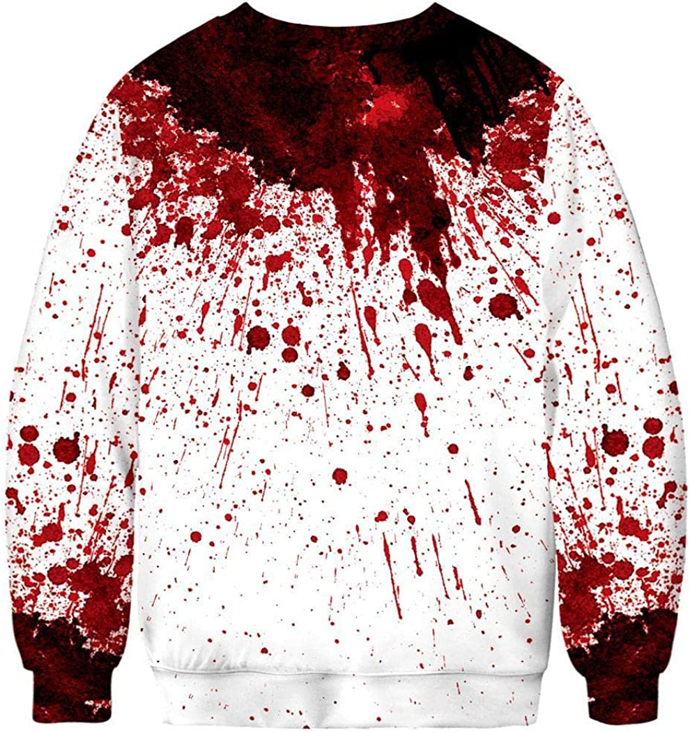Youandmes Men Halloween Style Blood Stained Sweatshirts Print Long Sleeve O Neck Loose Sweatshirt