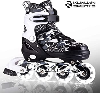 Kuxuan Boys Camo Black & Silver Rollerblades For Kids