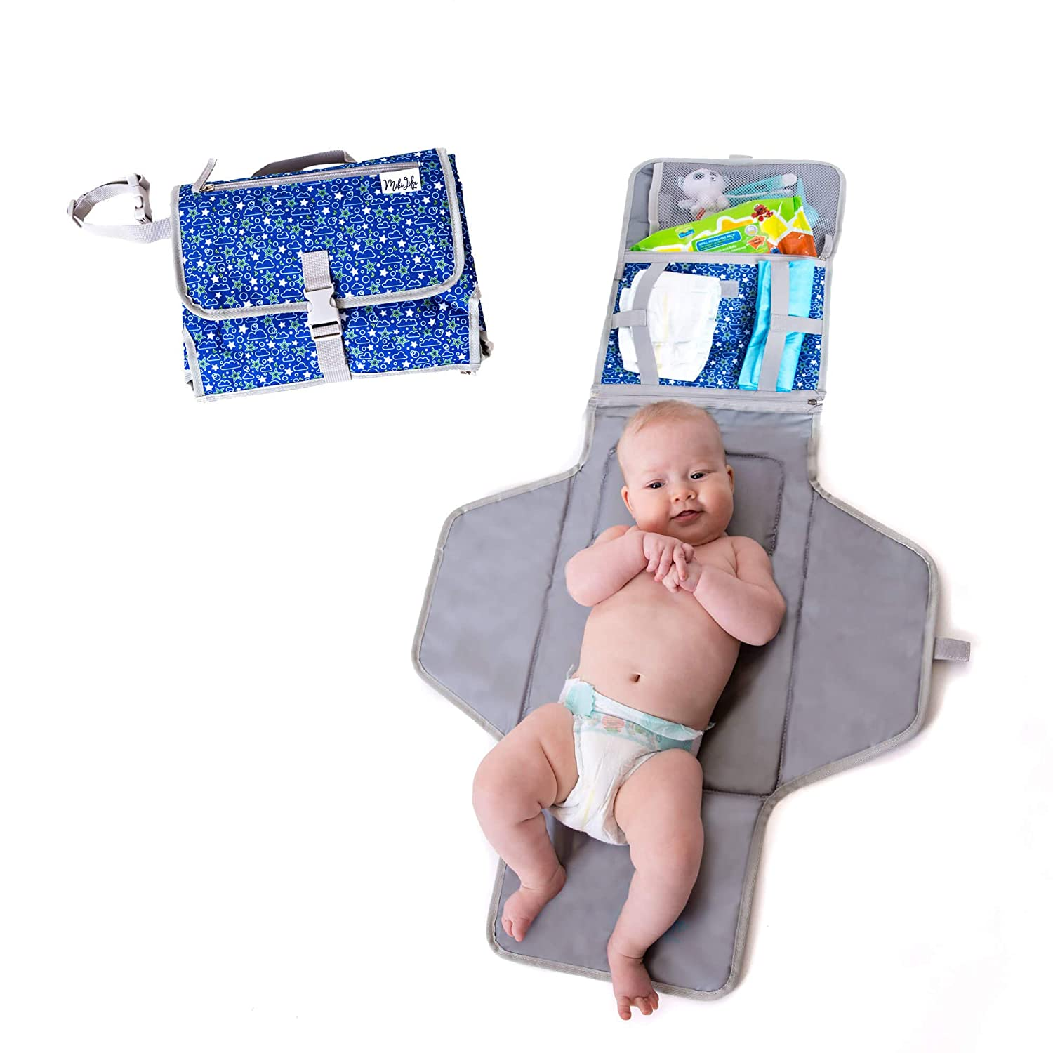 Baby Portable Changing Mat   Lightweight Travel Diaper Station Kit with Waterproof and Cushioned Pad   Foldable Pad with Pockets   Changing Organizer Bag for Toddlers Infants & Newborns   Blue
