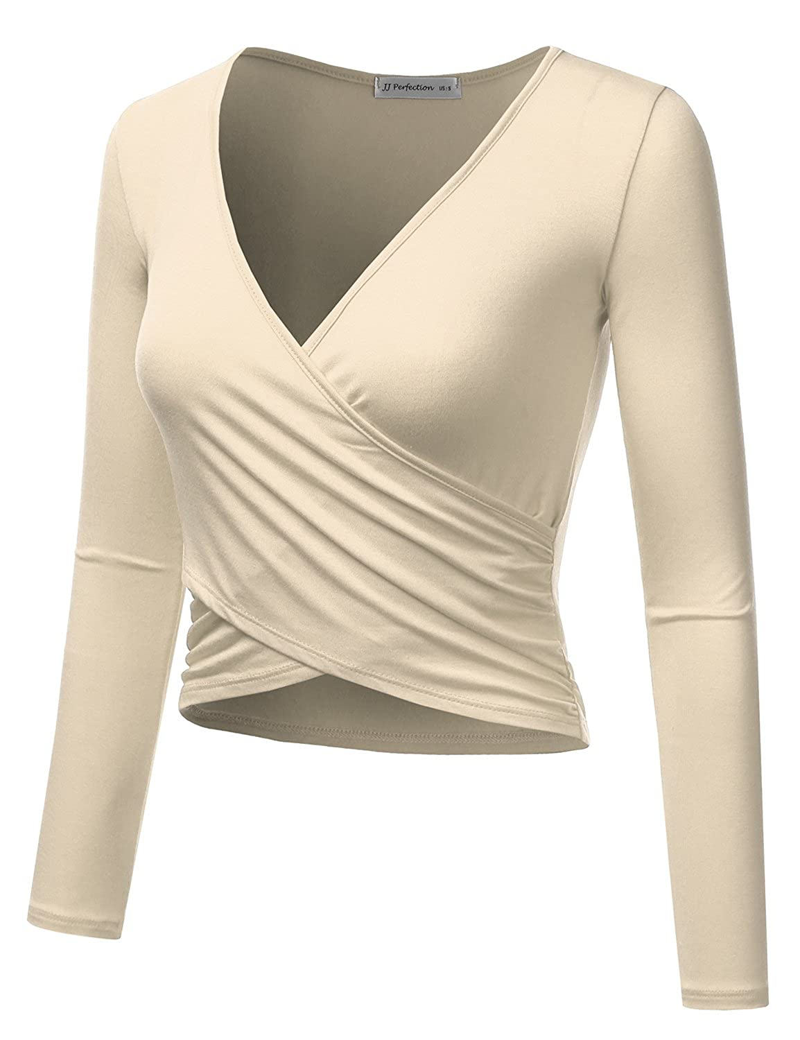 6a3d7515fe3 JJ Perfection Women's Long Sleeve Deep V Neck Unique Cross Wrap Crop Top at  Amazon Women's Clothing store: