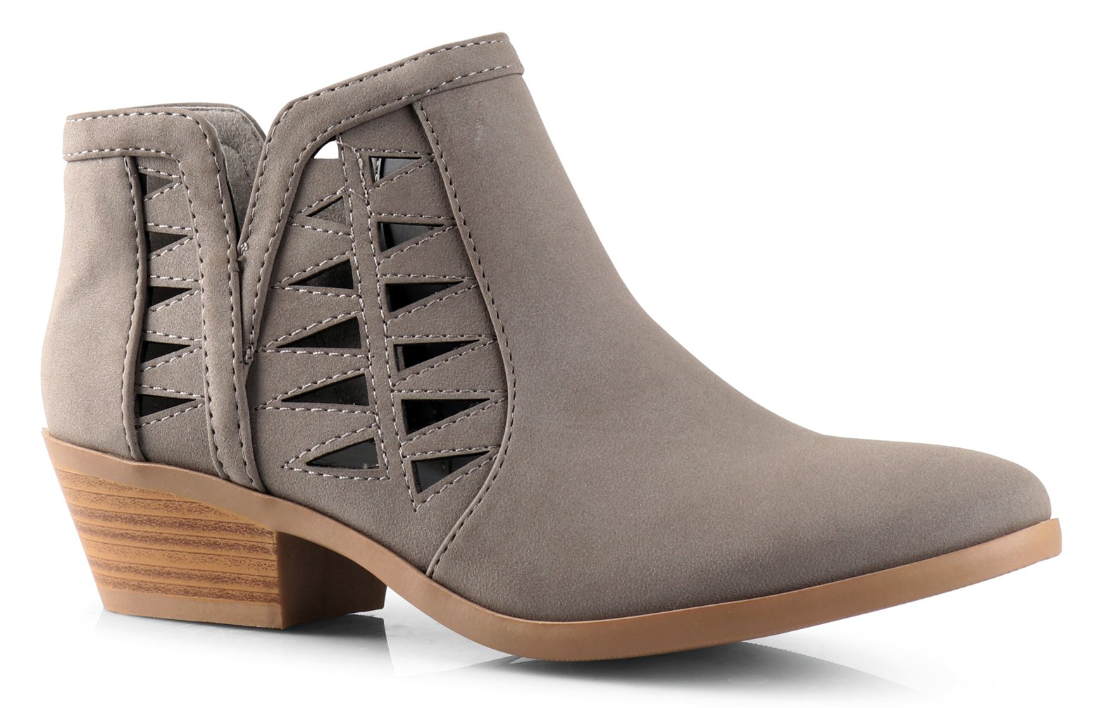 Soda Women's Perforated Cut Out Stacked Block Heel Ankle Booties (9 B(M) US, Gray Nubuck)
