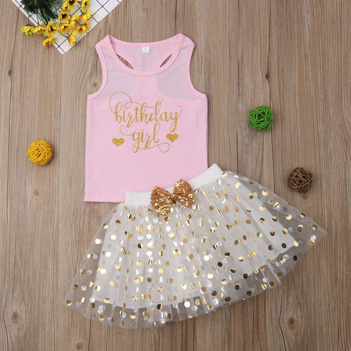 Aunavey Baby Girl Fancy Dresses Toddler Kids Birthday Gift Princess Sleeveless Vest Dot Bubble Tulle Tutu Skirt Set
