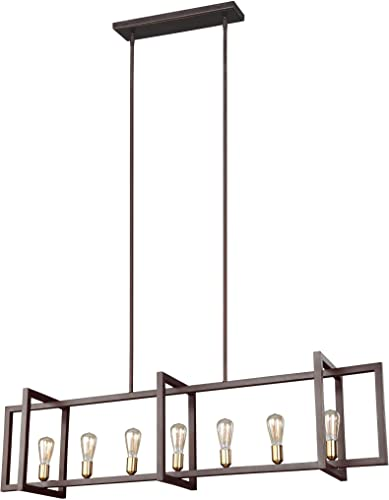 Feiss F3148 7NWB Finnegan Farmhouse Island Chandelier Lighting, Bronze, 7-Light 60 L x 14 H 420watts