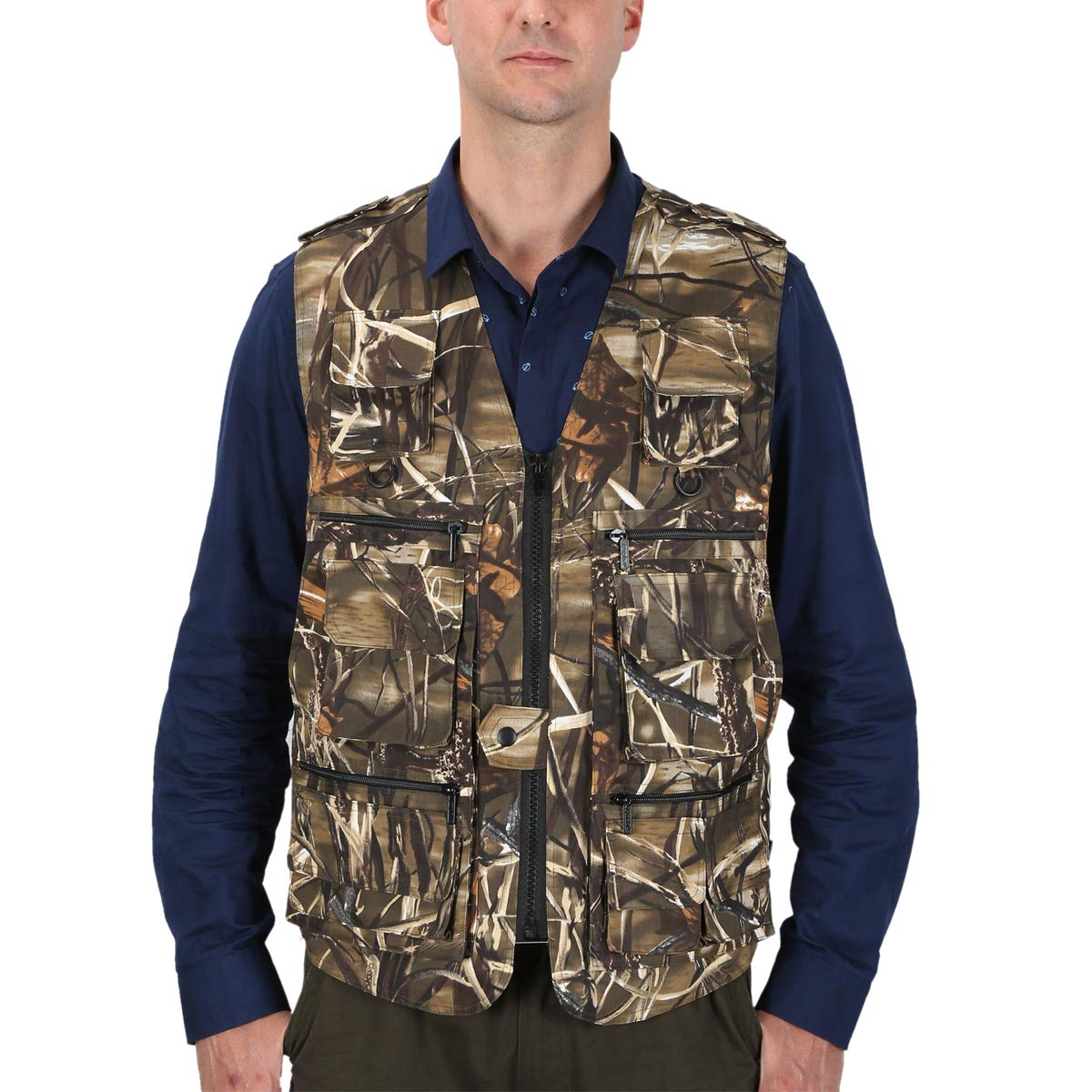 LUSI MADAM Mens Outdoor Vest Multi-Pockets Casual Vest for Work Fishing Photography Journalist (Bamboo Camo, Small)