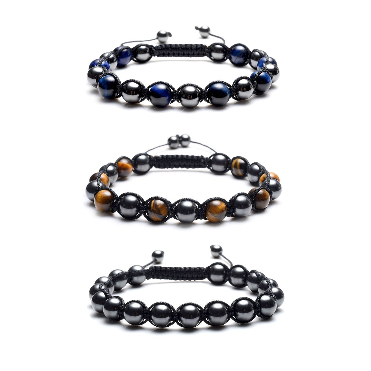 Jovivi Magnetic Therapy Bracelet - Natural Tiger Eye Stone & Hematite Healing Crystal Braided Rope Energy Beads Bracelet for Pain Relief