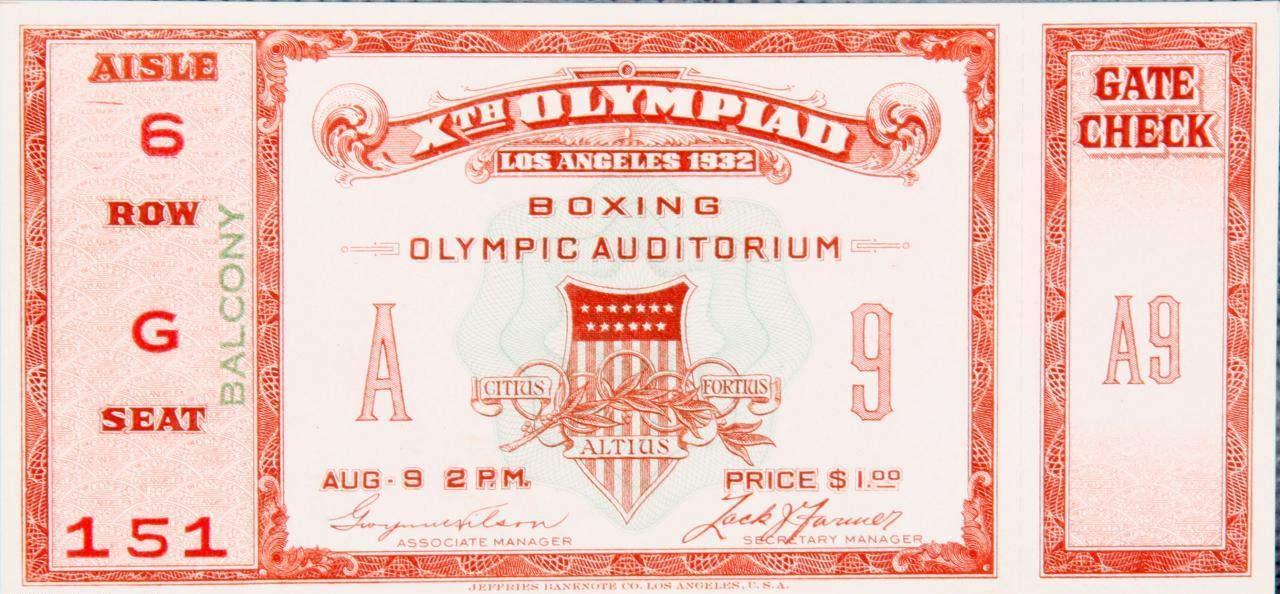 Sports Memorabilia 1932 Summer Olympics Boxing Full Ticket Boxing Tickets