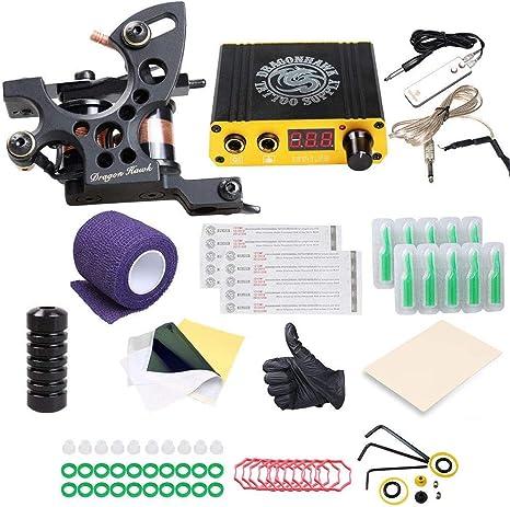 DragonHawk Beginner Tattoo Kit 1 Pro Tattoo Machine Gun Power Supply Starter Set K4EUYMX: Amazon.es: Oficina y papelería