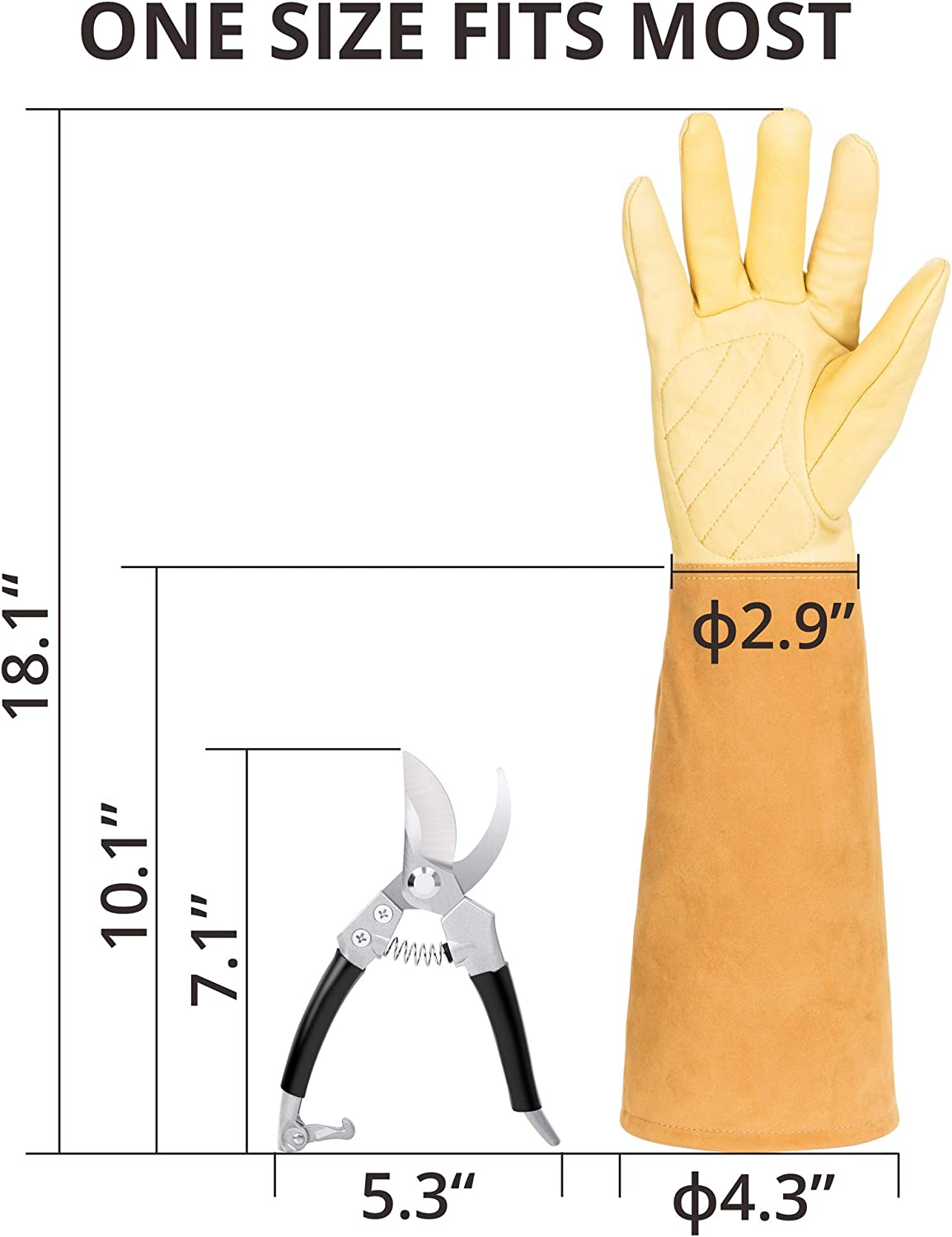 Triple Tree Thorn Proof Rose Pruning Gardening Gloves with Tree Trimmer Pruning Shears Garden Gloves for Men and Women Trimming Protective Elbow-length Gloves with Hand Pruners