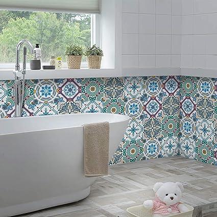 Yoillione Marokkanischer Fliesenaufkleber Mosaik Fliesenaufkleber  Wasserdicht für die Küche,Vinyl Sticker Fliesen Selbstklebend Fliesenfolie  ...