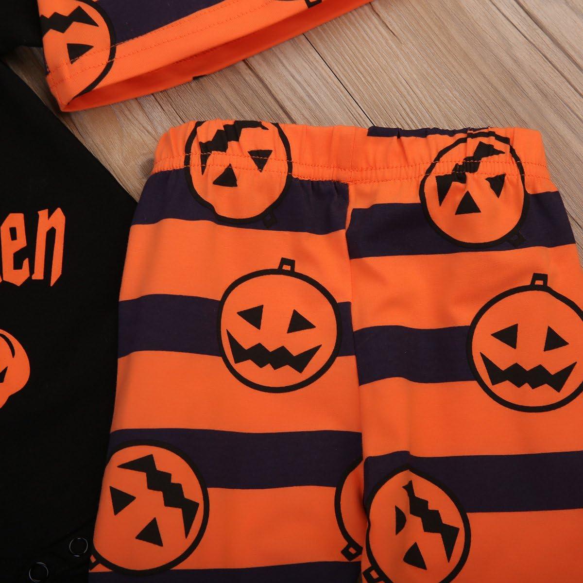 Cappuccio Carolilly Halloween 3 Pezzi Completini Neonato Tuta Bambina Vestito Pagliaccetto Neonato Pantaloni per i Bambini da 0-24 Mesi